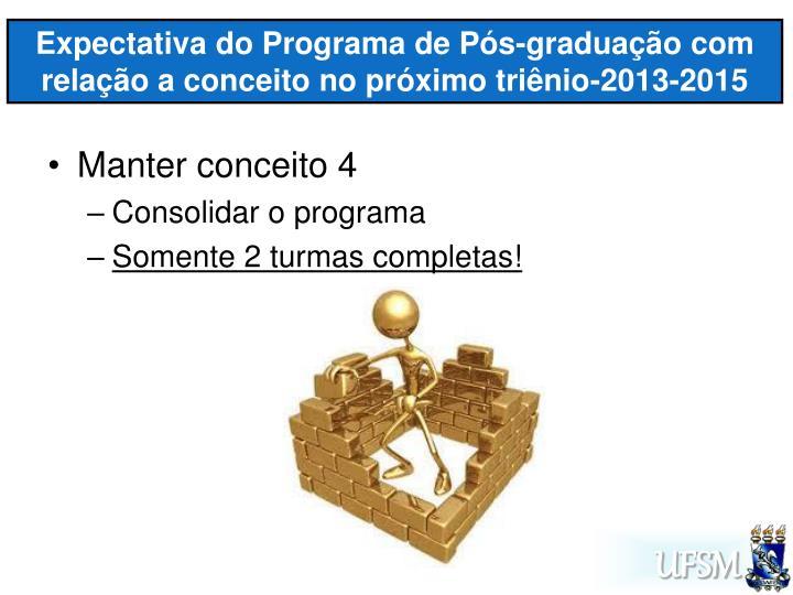 Expectativa do Programa de Pós-graduação com relação a conceito no próximo triênio-2013-2015