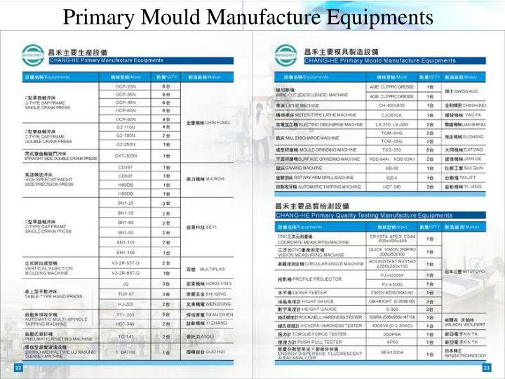 Primary Mould Manufacture Equipments