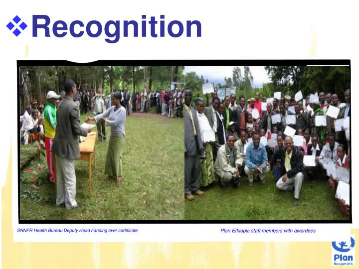 SNNPR Health Bureau Deputy Head handing over certificate