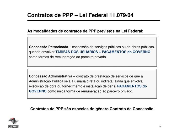Contratos de PPP – Lei Federal 11.079/04