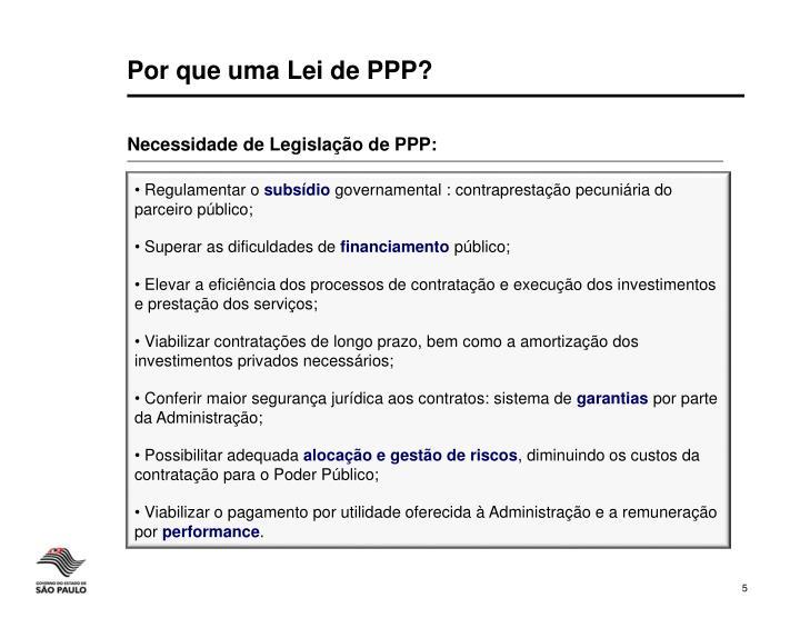Por que uma Lei de PPP?