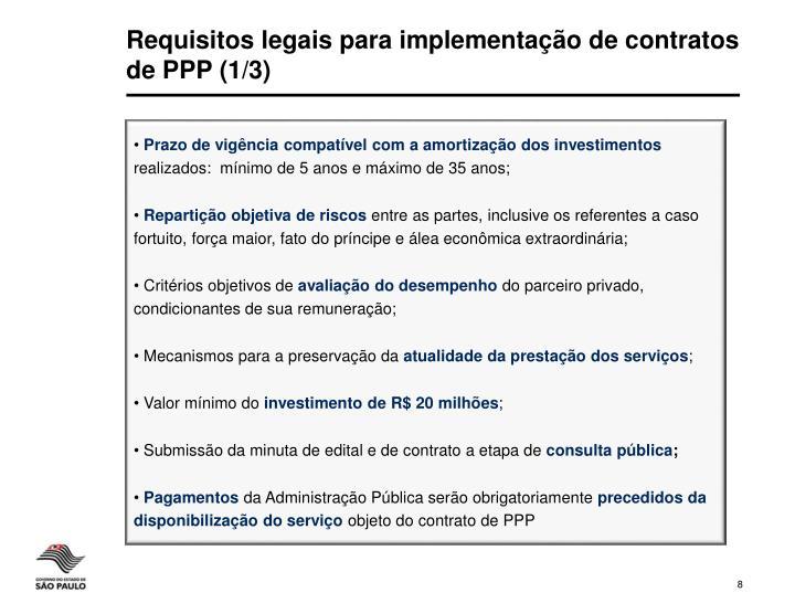 Requisitos legais para implementação de contratos de PPP (1/3)