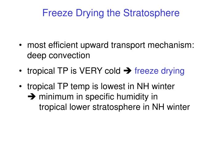 Freeze Drying the Stratosphere