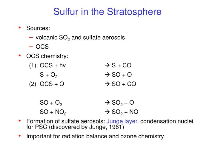 Sulfur in the Stratosphere