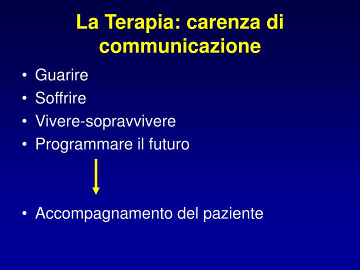 La Terapia: carenza di communicazione