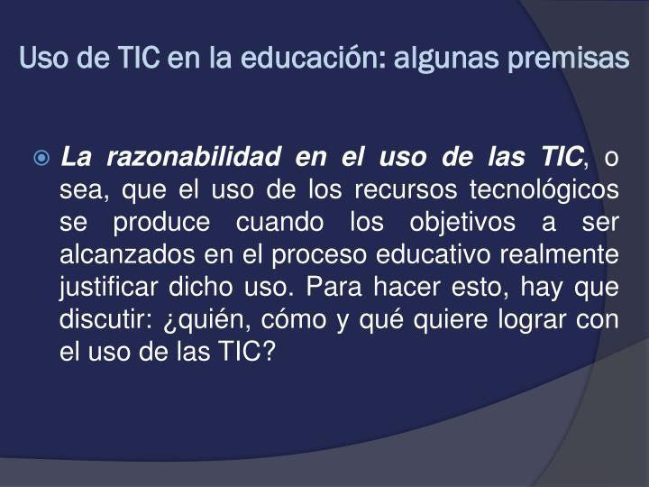 Uso de TIC en la educación: algunas premisas