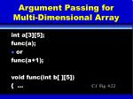 argument passing for multi dimensional array