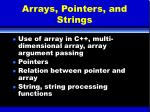 arrays pointers and strings