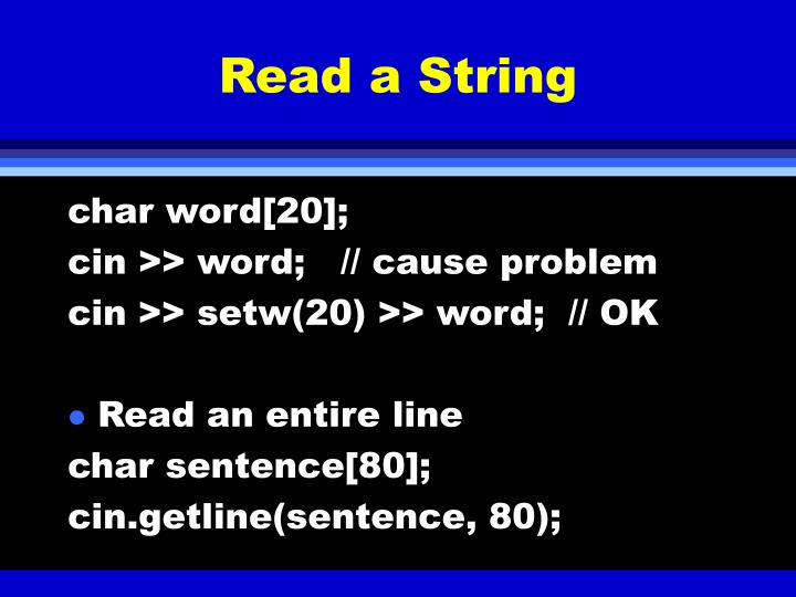 Read a String