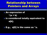 relationship between pointers and arrays