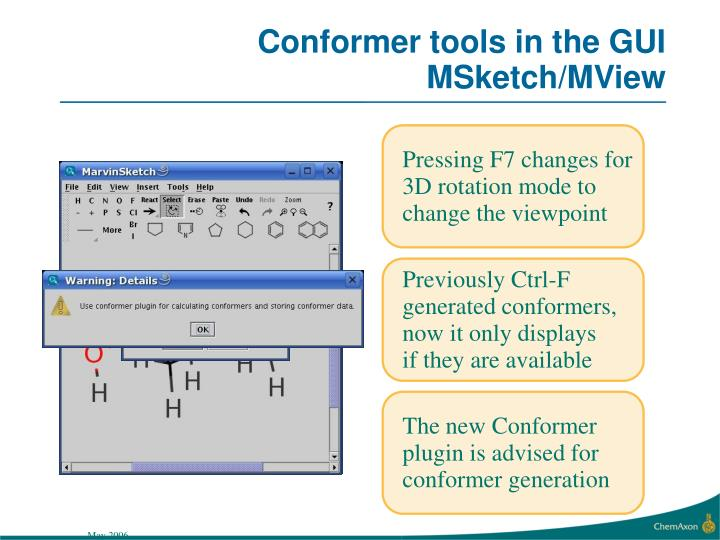 Conformer tools in the GUI MSketch/MView