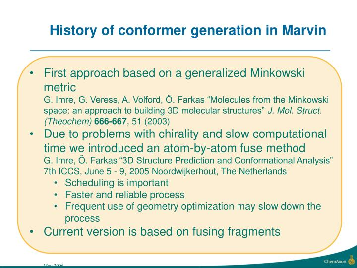 History of conformer generation in Marvin
