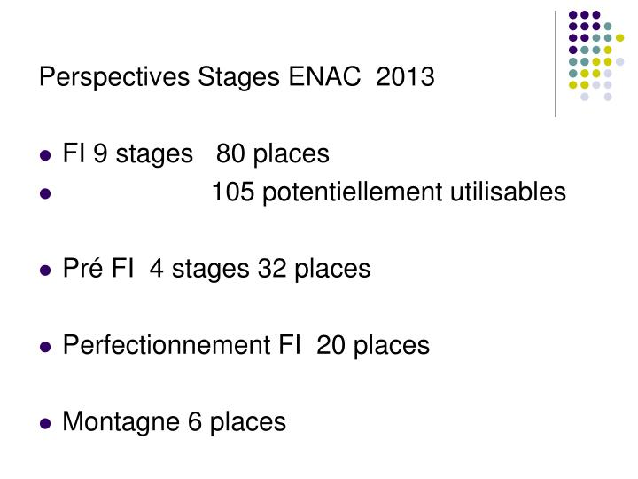 Perspectives Stages ENAC  2013