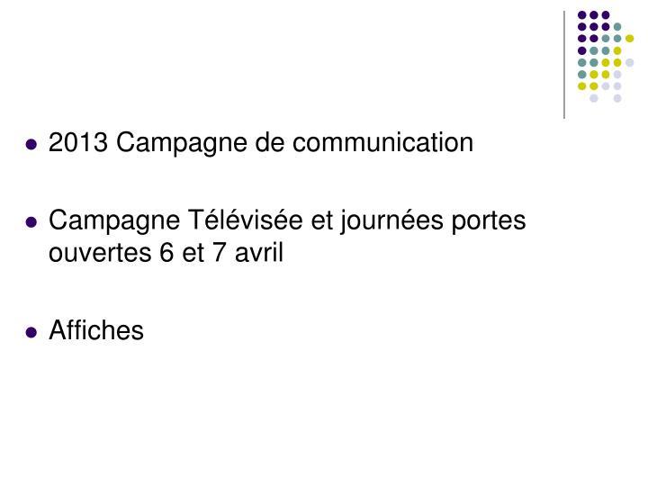 2013 Campagne de communication