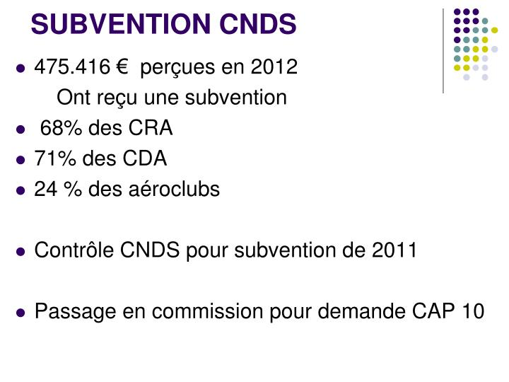 SUBVENTION CNDS