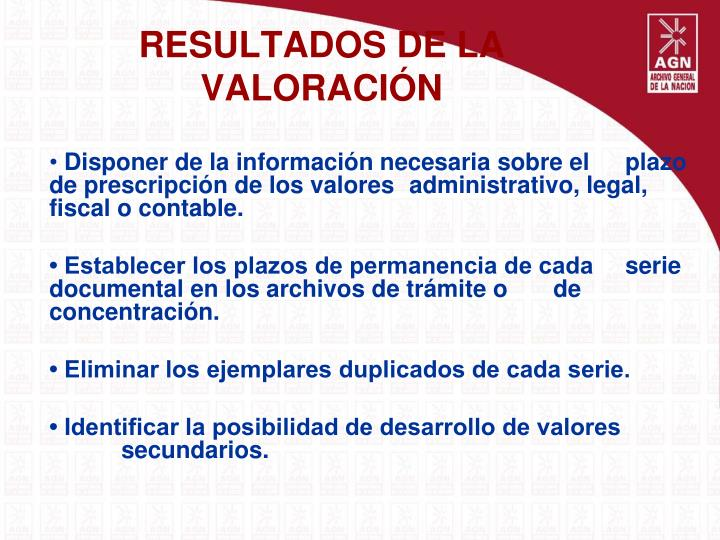 RESULTADOS DE LA VALORACIÓN