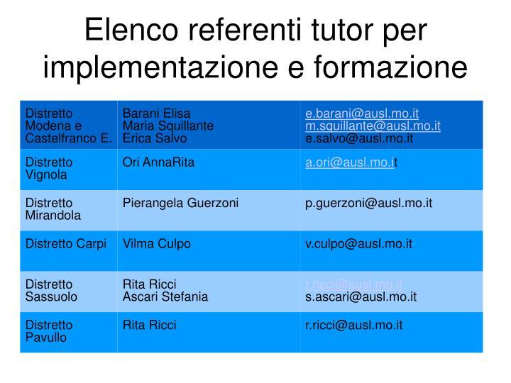 Elenco referenti tutor per implementazione e formazione