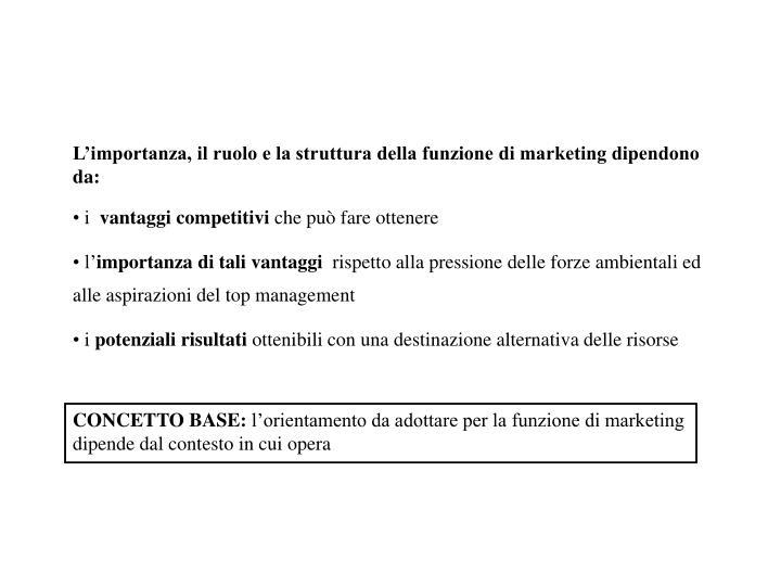 L'importanza, il ruolo e la struttura della funzione di marketing dipendono da: