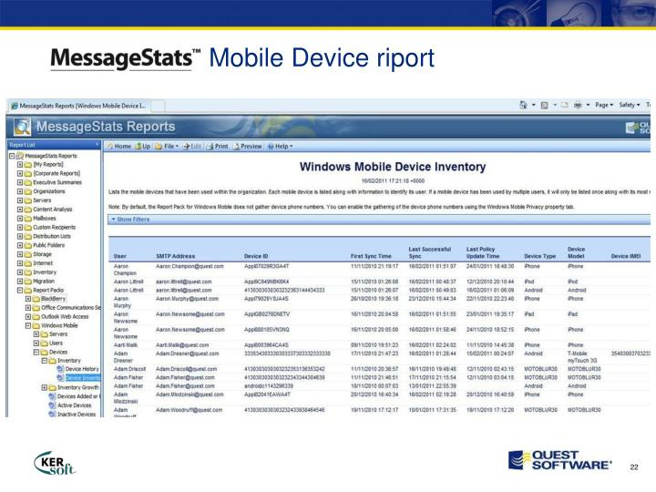Mobile Device riport