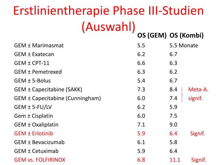 Erstlinientherapie Phase III-Studien