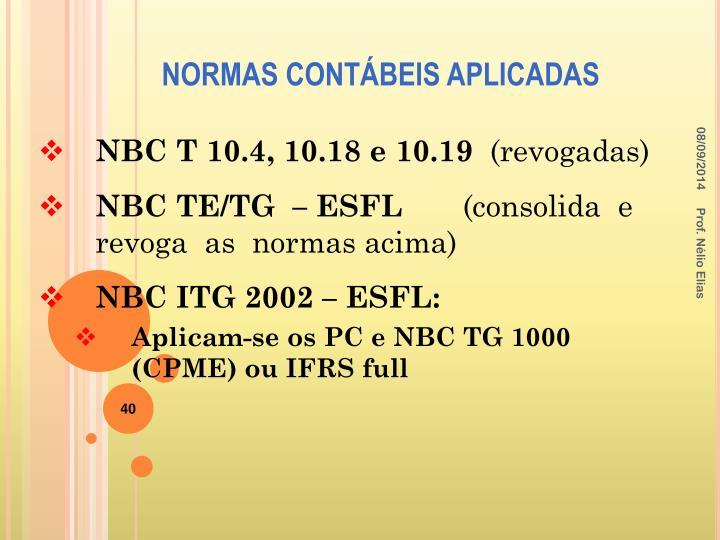 NBC T 10.4, 10.18 e 10.19
