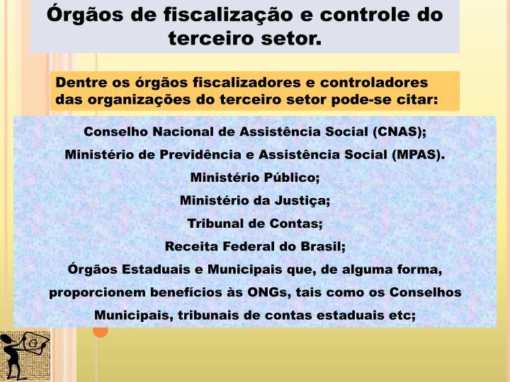 Órgãos de fiscalização e controle do terceiro setor.