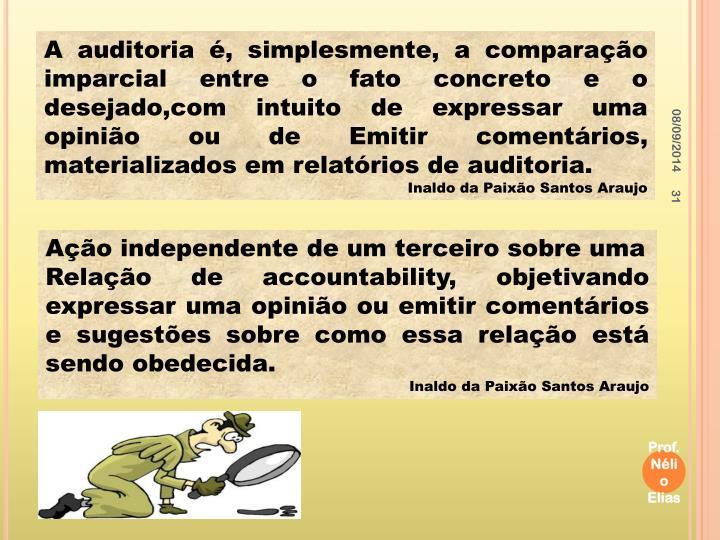 A auditoria é, simplesmente, a comparação imparcial entre o fato concreto e o desejado,com intuito de expressar uma opinião ou de Emitir comentários, materializados em relatórios de auditoria.