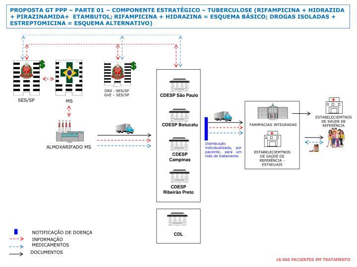 PROPOSTA GT PPP  PARTE 01  COMPONENTE ESTRATGICO  TUBERCULOSE (RIFAMPICINA + HIDRAZIDA + PIRAZINAMIDA+  ETAMBUTOL; RIFAMPICINA + HIDRAZINA = ESQUEMA BSICO; DROGAS ISOLADAS + ESTREPTOMICINA = ESQUEMA ALTERNATIVO)