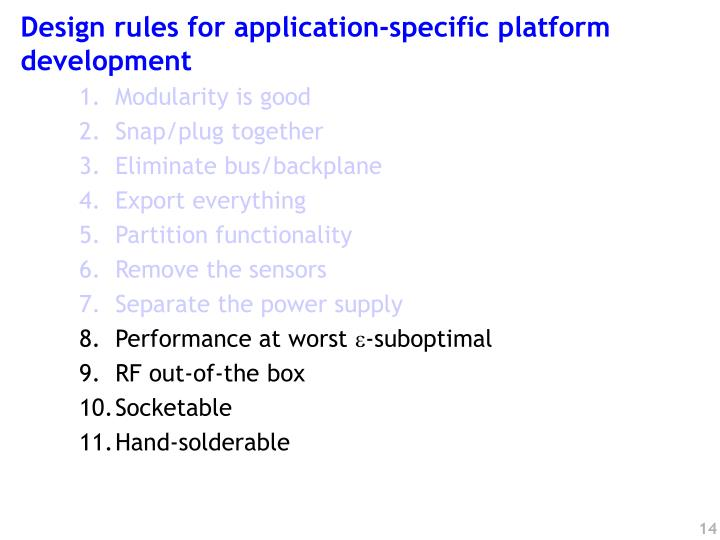 Design rules for application-specific platform development