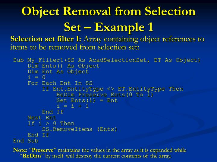 Object removal from selection set example 1