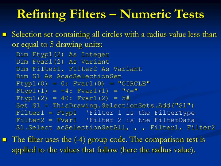 Refining Filters – Numeric Tests