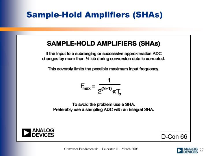 Sample-Hold Amplifiers (SHAs)
