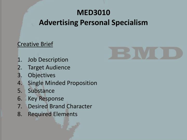 Med3010 advertising personal specialism