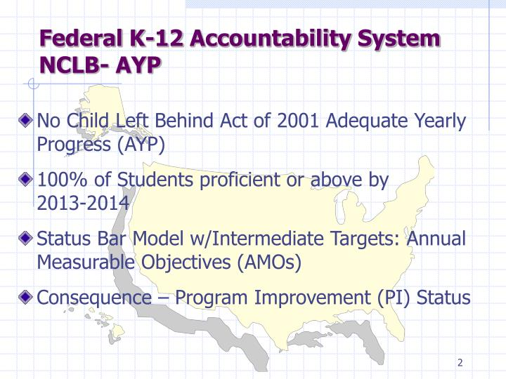 Federal k 12 accountability system nclb ayp