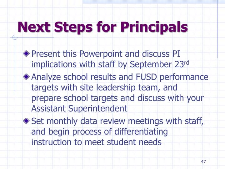 Next Steps for Principals