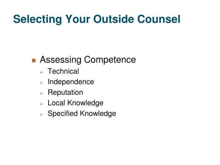 Selecting Your Outside Counsel