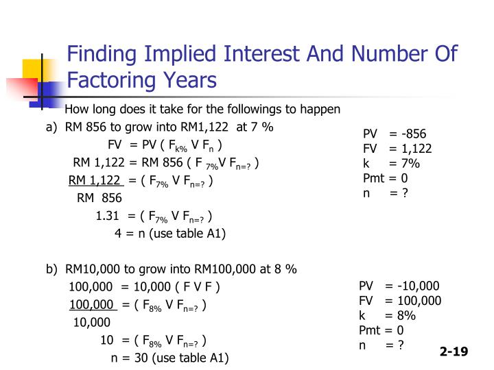 Finding Implied Interest And Number Of Factoring Years