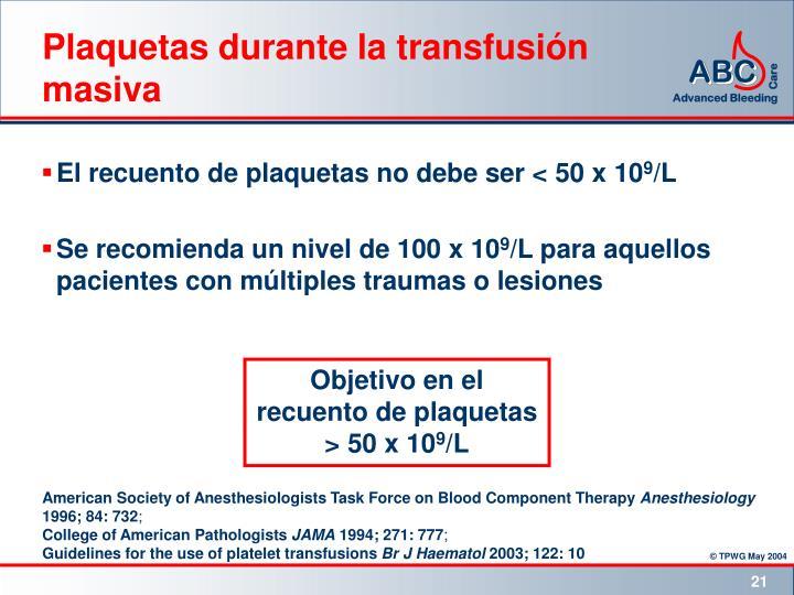 Plaquetas durante la transfusión masiva