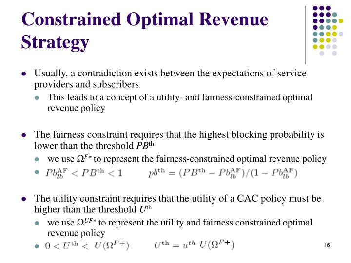 Constrained Optimal Revenue Strategy