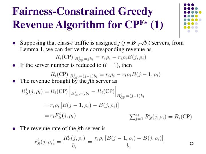Fairness-Constrained Greedy Revenue Algorithm for CP