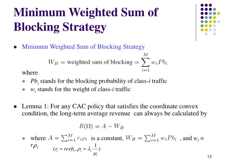 Minimum Weighted Sum of Blocking Strategy