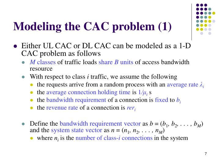 Modeling the CAC problem (1)