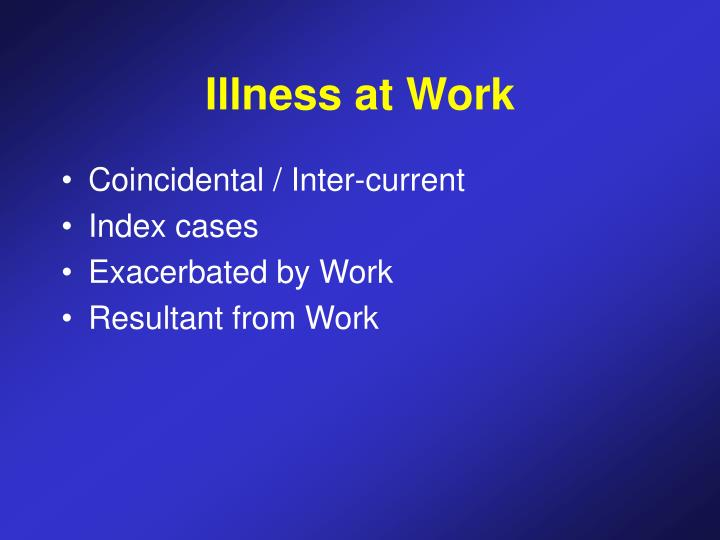Illness at Work