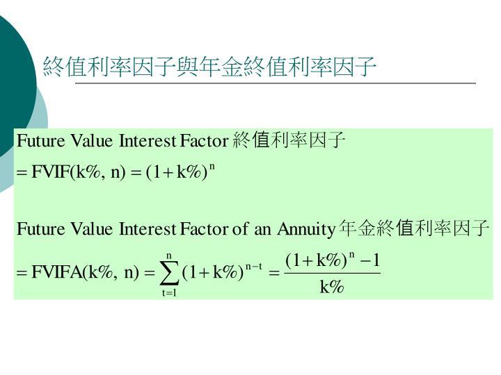 終值利率因子與年金終值利率因子
