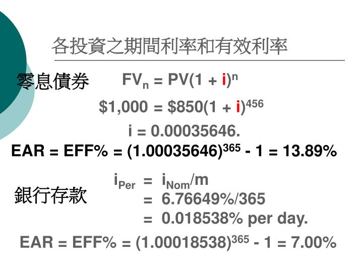 各投資之期間利率和有效利率
