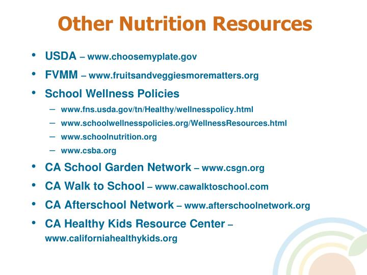 Other Nutrition Resources