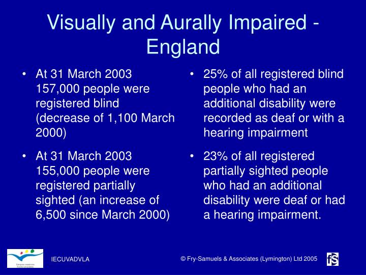 At 31 March 2003 157,000 people were registered blind (decrease of 1,100 March 2000)