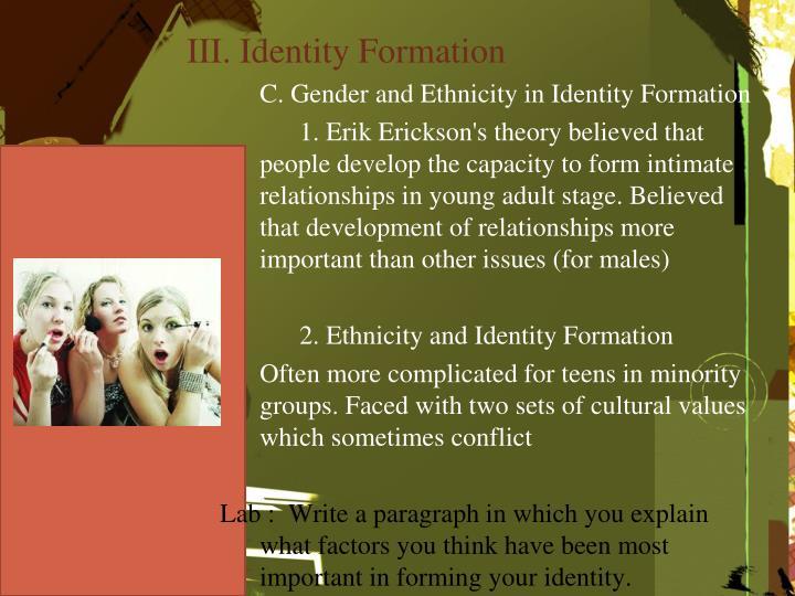 III. Identity Formation