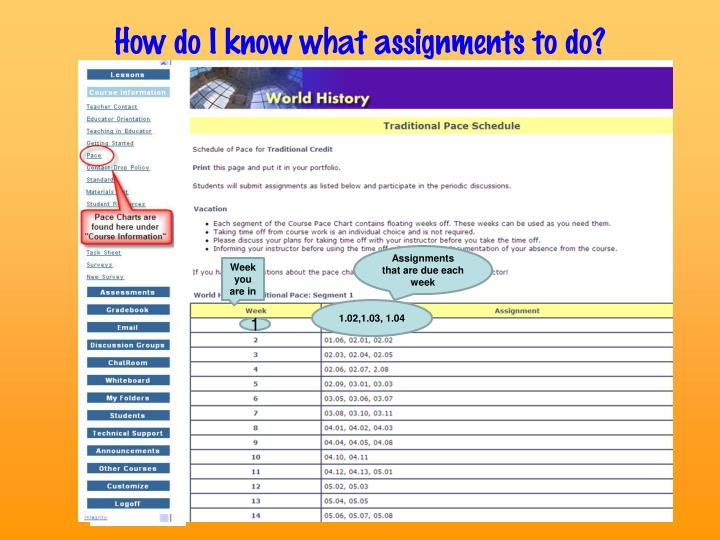 How do I know what assignments to do?
