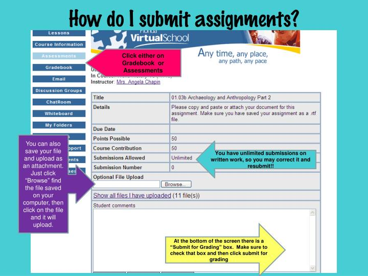 How do I submit assignments?